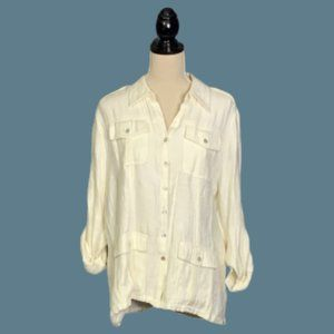 Soft Surroundings Ivory Top /Jacket Rayon Sz PL